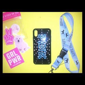 PINK IPhone X Case & Lanyard w/ free stickers
